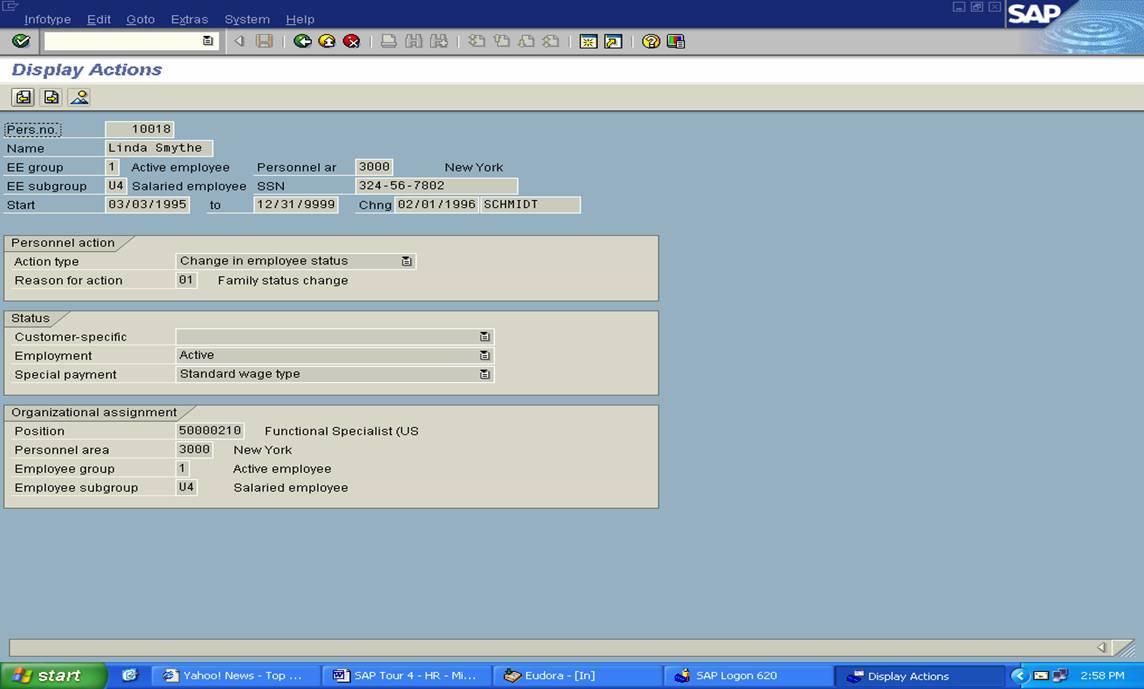 Sap Sample Screens