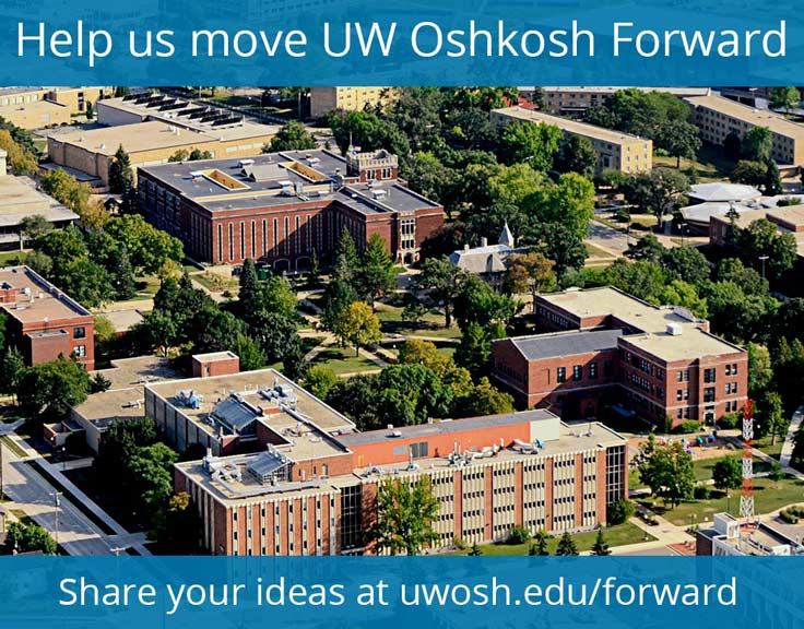 Photo of campus from above with the caption: Help us move UW Oshkosh Forward. Share your ideas at uwosh.edu/forward.