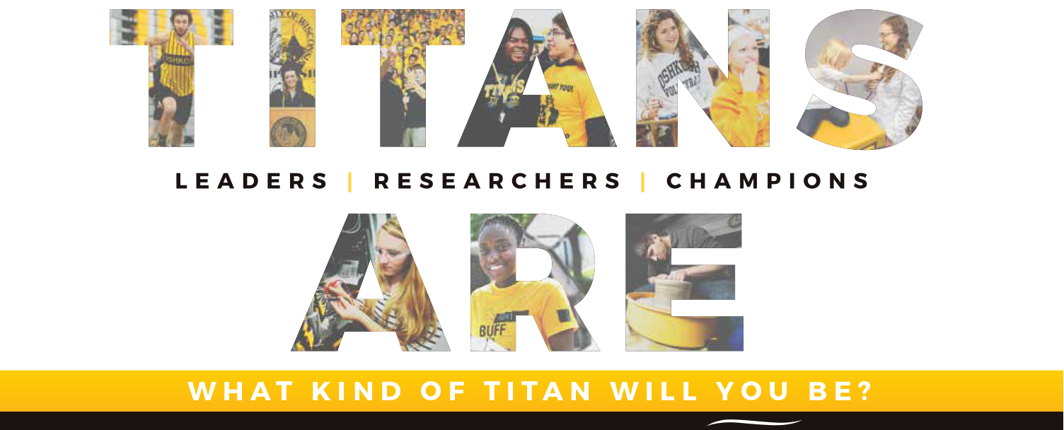 Titans Are Banner with student as pictures inside the letters.