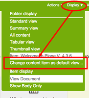 Select Display > change content item as default view